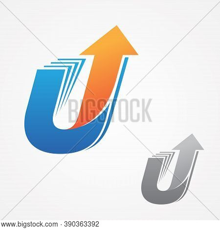 U Letter For Your Best Business Symbol With Arrow. Technology Letter Symbol Icon Design. Vector Illu