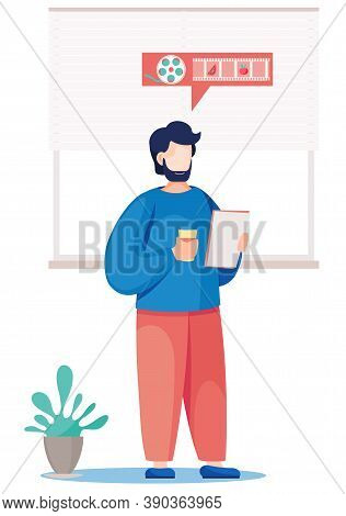 Teacher At Blackboard. Young Male Teacher Stands With A Cup Of Coffee And Sheets Of Paper In His Han