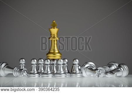 Golden Chess King Stood Out On The Silver Pawn. King Wins The Game, Success, Strategy, Victory, Win