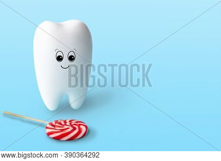 Fun Toy White Tooth With Face And Candy On Light Blue Background With Copy Space. Oral Hygiene, Dent