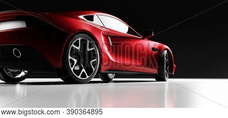 Rear view of red fast sports car in studio light. Brandless contemporary style. 3D illustration