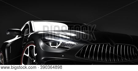 Detail shot of new modern premium car in studio light. Brandless contemporary style. 3D illustration