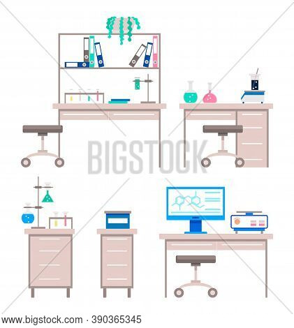Collection Of Working Places For Scientists And Researchers. Set Of Isolated Tables With Test Tubes,