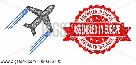 Wire Frame Airplane Trail Icon, And Assembled In Europe Textured Ribbon Stamp. Red Stamp Seal Contai