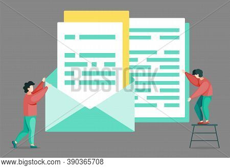 Man On Ladder And Big Documents In Envelope, Lot Of Work To Do For Usual Worker. Vector Illustration