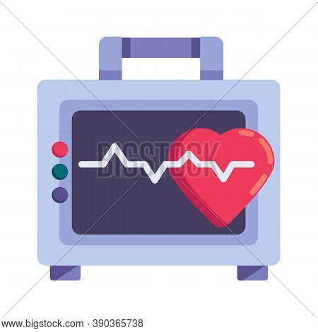 Heart Rate Monitor Flat Icon, Vector Sign, Electrocardiogram Colorful Pictogram Isolated On White. S