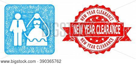 Wire Frame Bride And Groom Icon, And New Year Clearance Unclean Ribbon Stamp Seal. Red Stamp Seal In