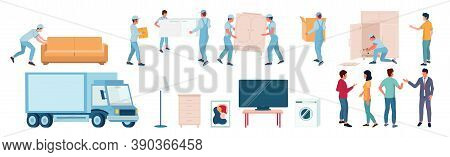 Home Moving And Relocation Set, Flat Vector Isolated Illustration. Moving And Delivery Company Servi