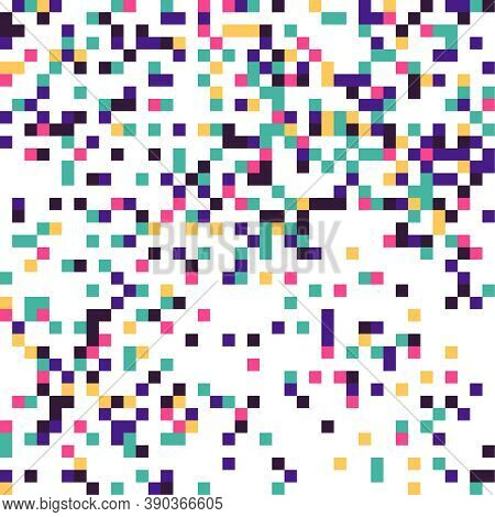 Multi Colored Pixelation. Vector Background With Colored Pixel Grid. Glitch Pixel Texture.