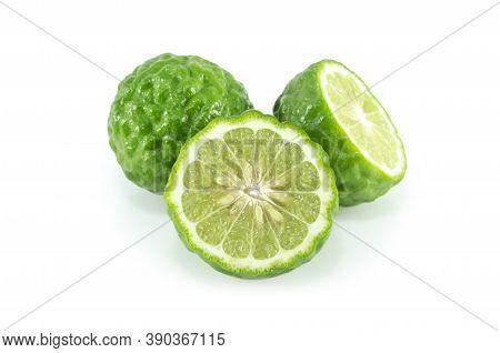 Fresh Bergamot Fruit Isolated On White Background, Herb And Medical