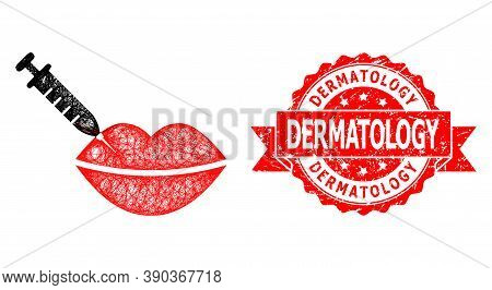 Net Botox Lips Injection Icon, And Dermatology Unclean Ribbon Stamp. Red Stamp Contains Dermatology