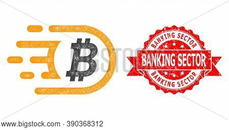 Wire Frame Bitcoin Icon, And Banking Sector Rubber Ribbon Seal Print. Red Stamp Seal Has Banking Sec