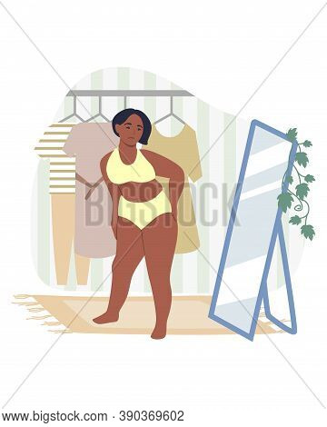 Obesity And Weight Problems. Sad Overweight Woman Looking At Herself In The Mirror, Flat Vector Illu