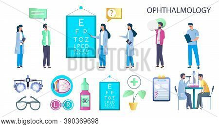 Ophthalmology Set, Flat Vector Isolated Illustration. Doctor Oculist And Patient Characters. Chart F