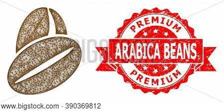 Net Cacao Beans Icon, And Premium Arabica Beans Grunge Ribbon Stamp Seal. Red Stamp Seal Includes Pr