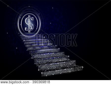 Stairway To Business Growth, Finance Target, Vector Poster Banner Design Template. Low Poly Art, Pol