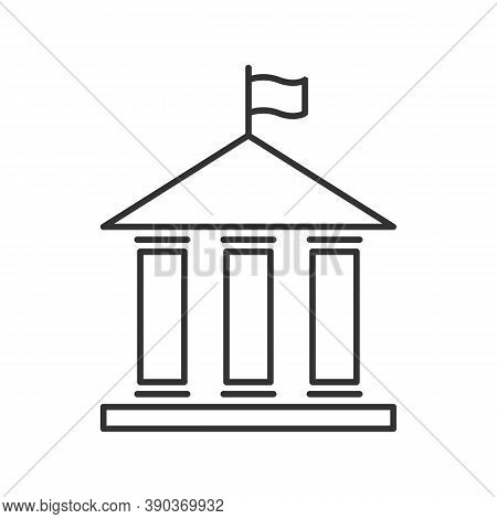 House With Columns And Flag Icon. Building Of Government, Embassy, Official Institution Or Establish
