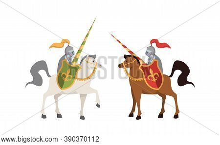 Two Medieval Knights. Brutal Warriors On Horse In Steel Shiny Armor With Shields Battle, Honor Conce