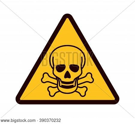 Warning Sign With Skull. Yellow Triangle With Black Attention Symbol, Dangerous Area Emblem, Chemica
