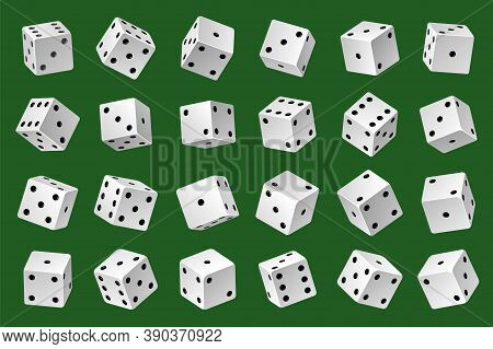 Dices Template. Gambling Game White 3d Cubes With Black Pips Different Angles And Combinations, Onli