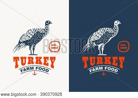 Turkey Bird Vintage Silhouette Logo. Classic Emblem For Prime Farm Label, Poultry Restaurant Identit