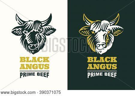 Black Angus Bull Head Silhouette Logo. Classic Emblem For Prime Beef Label, Steak Restaurant Identit