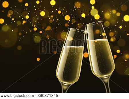 Champagne Glasses. Celebratory Sparkling Wine In Luxury Realistic 3d Clink Wineglasses And Gold Boke