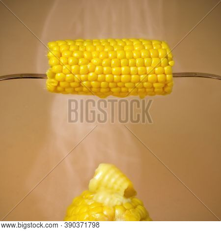 Vertical Arrangement Of Hot Steamy Succulent Corn On The Cob With Mealted Butter On A Plain Backgrou
