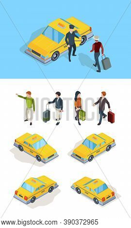 Taxi Service. Travellers Passengers Call Taxi With Luxury Driver Professional Chauffeurs Yellow Isom
