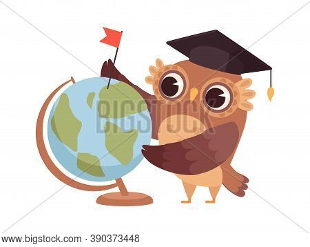 Clever Owl. Cartoon Wild Bird With Globe And University Hat. Geography Teacher, Dreams About Travel