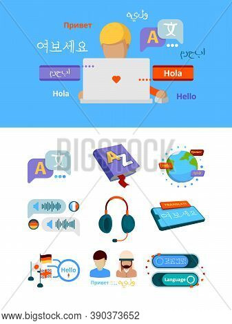 Translate Icons. Nationalities Alphabet Global Translation For Bilingual Foreign Language App Servic