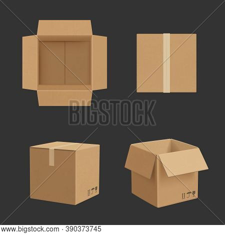 Cardboard Box. Paper Box Different Point Views Transporting Package Realistic Vector Mockup. Illustr