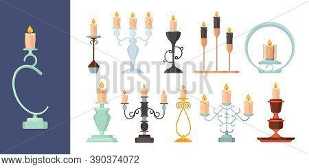 Candlestick. Burning Fire On Candle Holder Vintage Metal Candelabrum Ancient Decoration Vector Colle
