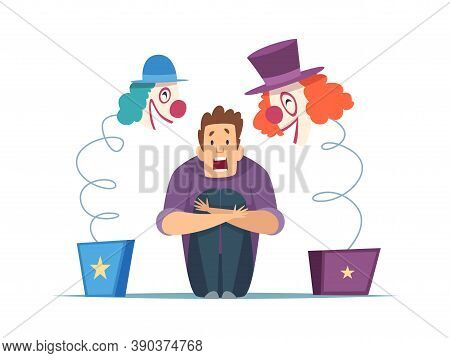 Nervous Man. Male In Panic, Fear Of Clowns. Isolated Screaming Guy, Frightening Circus Toys Vector I