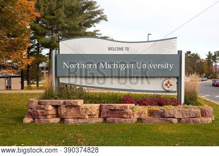 MARQUETTE, MI, October 6, 2020: Northern Michigan University entrance sign at Marquette, is a public university in Michigan upper peninsula. The university was established in 1899.