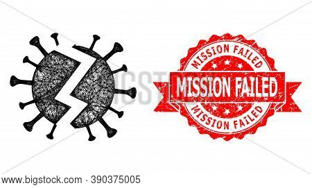 Network Broken Virus Icon, And Mission Failed Scratched Ribbon Stamp Seal. Red Stamp Seal Includes M