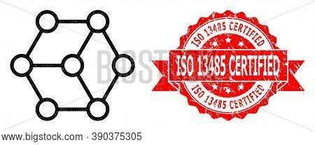 Network Blockchain Nodes Icon, And Iso 13485 Certified Dirty Ribbon Seal Imitation. Red Seal Include