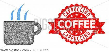 Wire Frame Aroma Cup Icon, And Cappuccino Coffee Rubber Ribbon Stamp. Red Stamp Seal Contains Cappuc