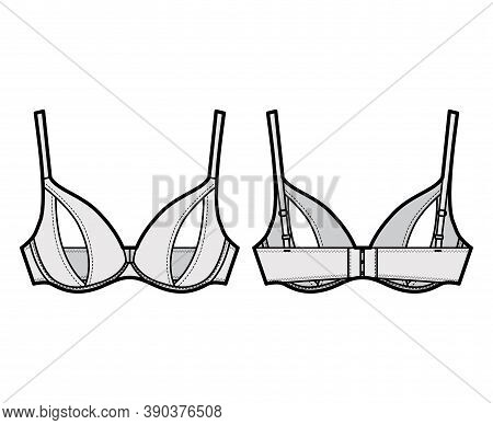 Peephole Bra Lingerie Technical Fashion Illustration With Adjustable Shoulder Straps, Underwire, Hoo