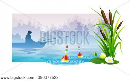Fisherman at fishing in boat on river with mist floats in rods and reeds. Morning landscape dawn. Human hat silhouette , banner isolated on white background. 3D illustration.