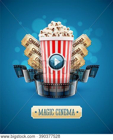 Online cinema art movie watching with popcorn and film-strip cinematography concept. realistic. 3D illustration.