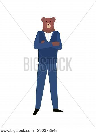 Confident Man With Head Of Bear In Blue Suit Isolated Cartoon Character. Vector Hipster Animal, Humo