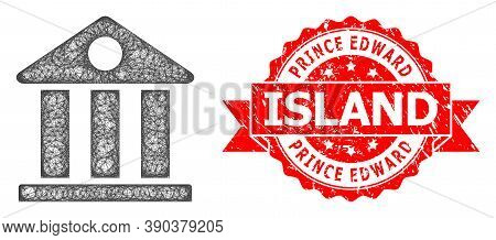 Wire Frame Museum Icon, And Prince Edward Island Textured Ribbon Stamp Seal. Red Stamp Seal Includes