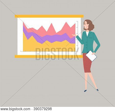 Lady With Document And Report In Hands Vector, Presentation Of Business Data On Whiteboard, Informat