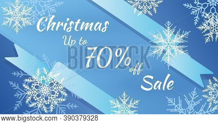 The Horizontal Blue Banner Sales. Winter Christmas Background With Snowflakes. Discounts Up To 70 Pe