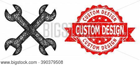 Wire Frame Wrenches Icon, And Custom Design Grunge Ribbon Seal Print. Red Seal Includes Custom Desig