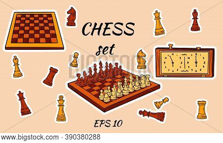 Cartoon Chess Pieces. Vector King, Queen Bishop And Pawn Horse Rook. Chessboard, Clock. Figures. Che