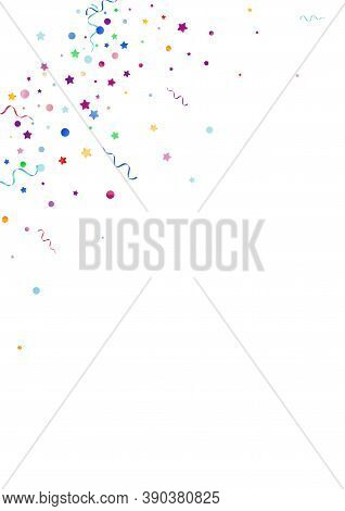 Variegated Confetti Celebration Vector White Background. Celebrate Spiral Template. Ribbon Falling P
