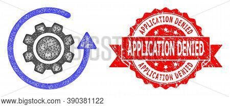 Wire Frame Gear Rotation Icon, And Application Denied Textured Ribbon Stamp Seal. Red Stamp Seal Con