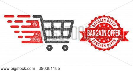 Wire Frame Supermarket Cart Icon, And Bargain Offer Textured Ribbon Seal. Red Stamp Seal Contains Ba